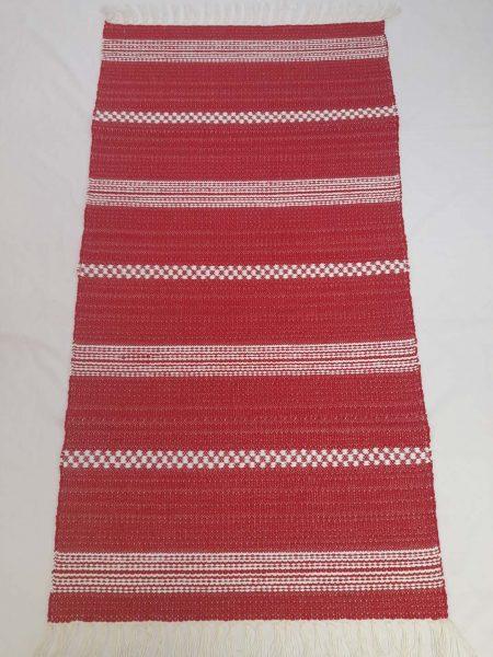 ALBINA szőnyeg hatszínű Piros alap fehér kocka-csík
